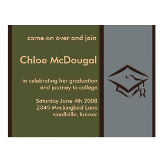 Customizable Graduation Invite Olive Postcard