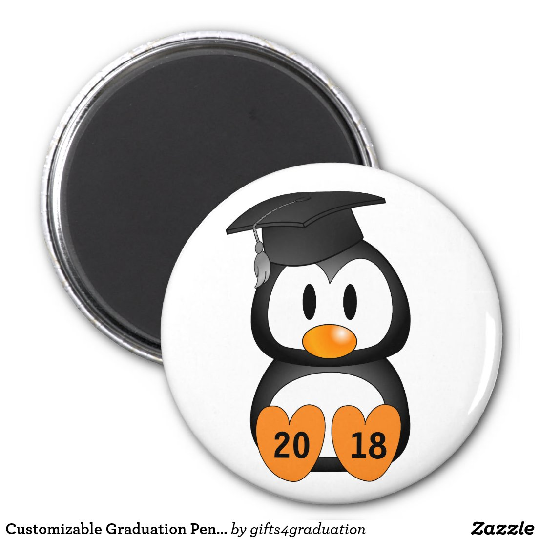 Customizable Graduation Penguin Magnet