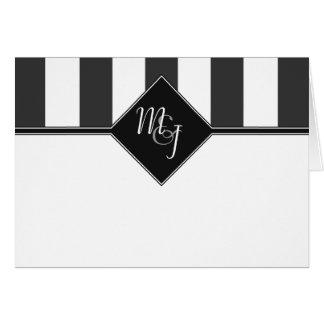 Customizable Gray, White & Black Monogrammed Card