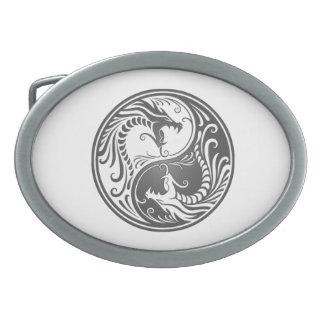 Customizable Gray Yin Yang Dragons Belt Buckles