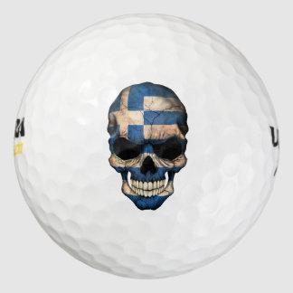 Customizable Greek Flag Skull Golf Balls