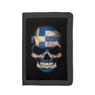 Customizable Greek Flag Skull Trifold Wallet