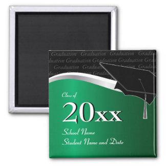 Customizable Green and Black Graduation Magnet