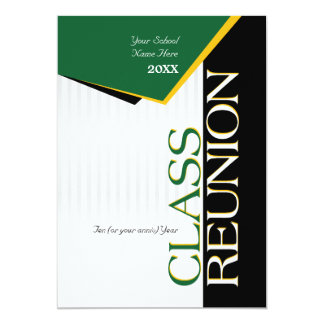 Customizable Green and Gold Class Reunion 5x7 Paper Invitation Card
