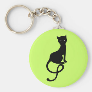 Customizable Green Gracious Evil Black Cat Keychain