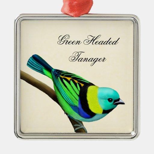 Customizable Green Headed Tanager Bird Ornament