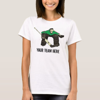 Customizable green hockey goalie womens tee