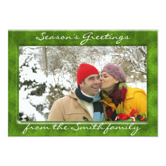 Customizable green holiday photo frame cards