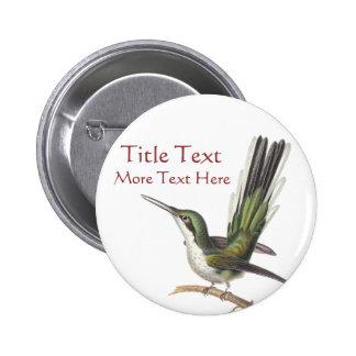 Customizable Green Hummingbird Pin / Button