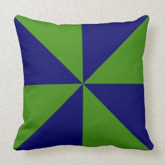 Customizable Green/Navy Blue Pinwheel Throw Pillow