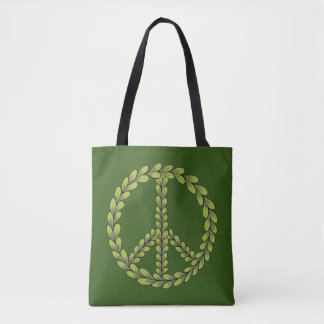 Customizable Green Peace sign with leaves Tote Bag
