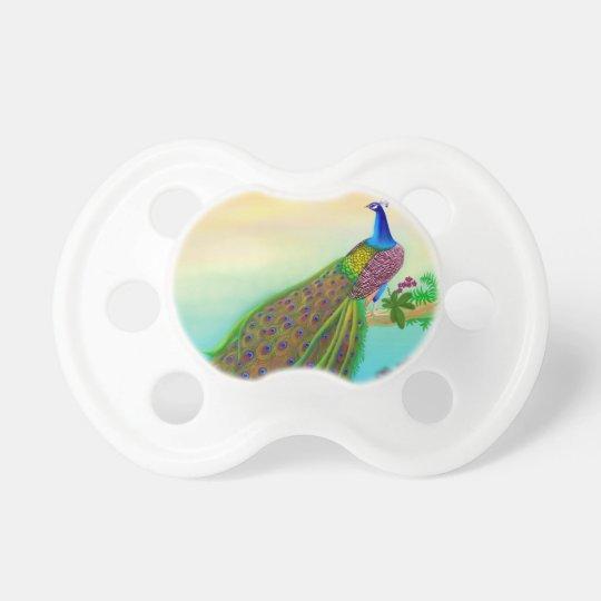 Customizable Green Peacock Baby Pacifier
