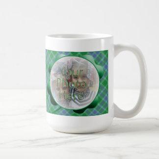 Customizable Green Plaid Shamrock Photo Mug