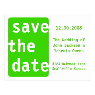 Customizable Green Save the Date - Customized Post Card