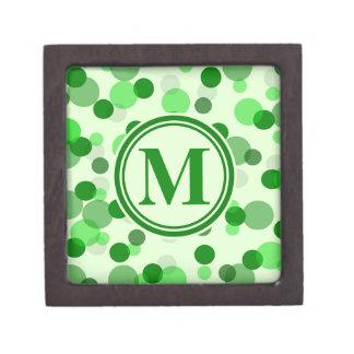 Customizable Green Spots Monogram Gift Box