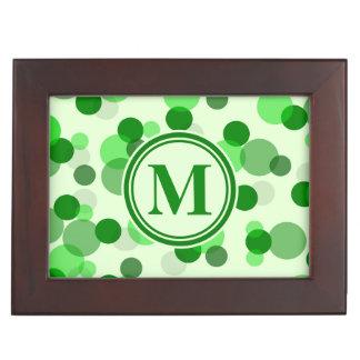 Customizable Green Spots Monogram Keepsake Box