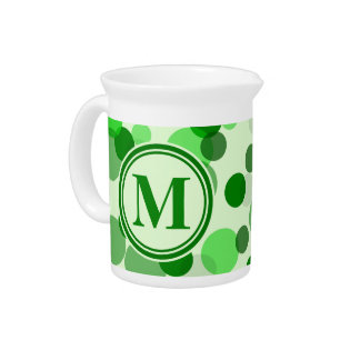 Customizable Green Spots Monogram Pitchers