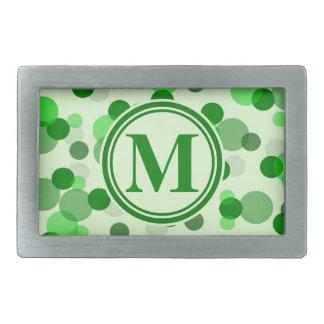 Customizable Green Spots Monogram Rectangular Belt Buckle