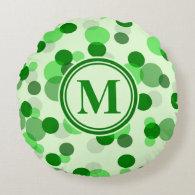 Customizable Green Spots Monogram Round Pillow