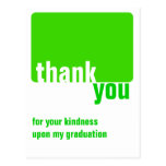 Customizable Green - Thank you  - Graduation Post Cards