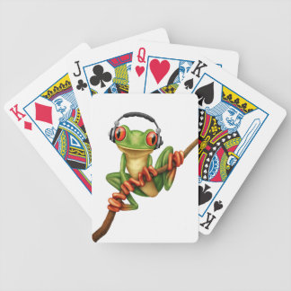 Customizable Green Tree Frog Dj with Headphones Bicycle Playing Cards