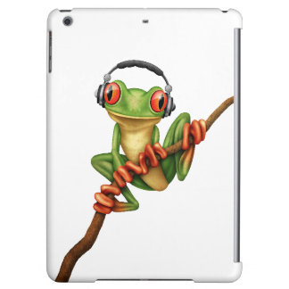 Customizable Green Tree Frog Dj with Headphones Cover For iPad Air