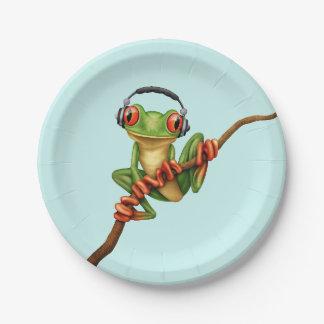 Customizable Green Tree Frog Dj with Headphones Paper Plate