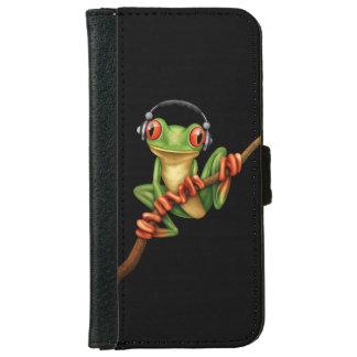 Customizable Green Tree Frog Dj with Headphones iPhone 6 Wallet Case