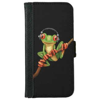 Customizable Green Tree Frog Dj with Headphones Wallet Phone Case For iPhone 6/6s