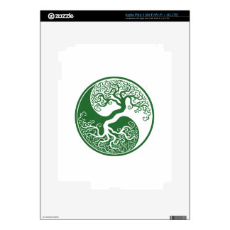 Customizable Green Tree of Life Yin Yang Decals For iPad 3