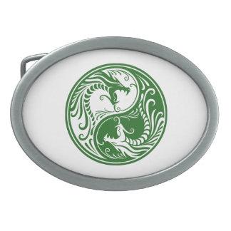 Customizable Green Yin Yang Dragons Belt Buckles