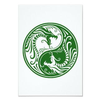 Customizable Green Yin Yang Dragons Card
