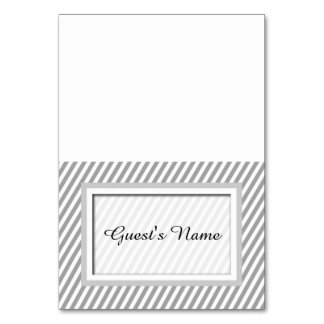 Customizable Grey Striped Name Place Cards