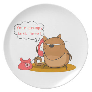 Customizable Grumpy Cat Party Plate