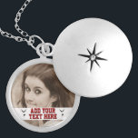 """Customizable Gymnastics Add Photo Keepsake Locket Necklace<br><div class=""""desc"""">For gymnastics athletes, cheerleaders, tumblers, trampoline and parkour athletes as well as gymnastic coaches and personal trainers- Personalized gymnastics necklace is ready to be customized in retro red letters with a shadow 3D effect on a white banner. On either side are simple black diagrams of a tumbling gymnast. Text font...</div>"""