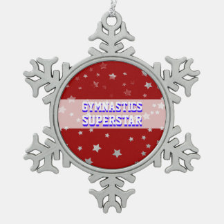 Customizable Gymnastics Superstar Tumbling Stars Snowflake Pewter Christmas Ornament
