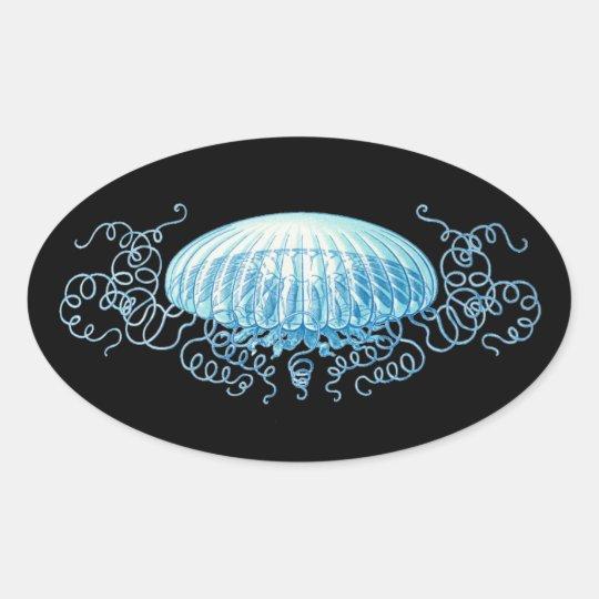 Customizable Haeckel Jellyfish Oval Sticker