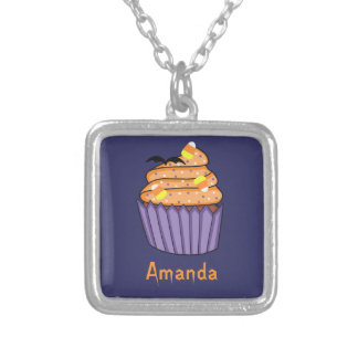 Customizable Halloween Cupcake Silver Plated Necklace