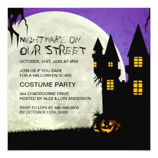 "Customizable Halloween Party Invitation 5.25"" Square Invitation Card"