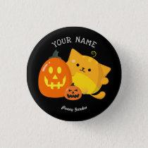Customizable Halloween - Pumpkin Cat Button