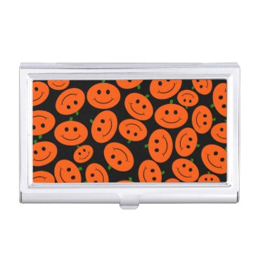 Professional Business Customizable Halloween Pumpkin Smileys Business Card Holder