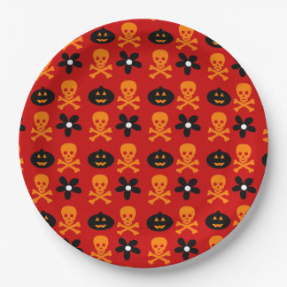 Customizable Halloween Skulls & Pumpkins Paper Plate
