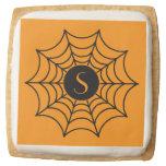 Customizable Halloween Spider Web Square Premium Shortbread Cookie