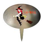 Customizable halloween witch flying on a broom cake topper