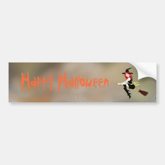 Customizable halloween witch flying on a broom car bumper sticker