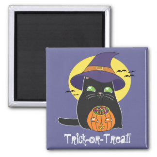 Customizable Halloween Witch Kitty Magnet