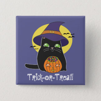 Customizable Halloween Witch Kitty Pinback Button