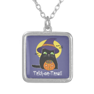 Customizable Halloween Witch Kitty Silver Plated Necklace