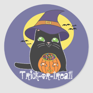Customizable Halloween Witch Kitty Stickers