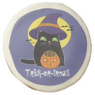 Customizable Halloween Witch Kitty Sugar Cookie